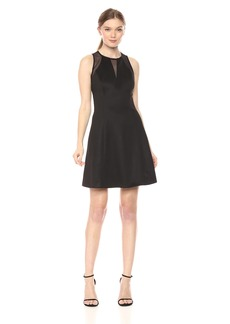 GUESS Women's Embossed Scuba Fit and Flare with Mesh Insets