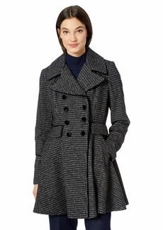 GUESS Women's Fashion Plaid fit and Flare Double Breasted Wool Coat