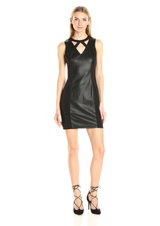 GUESS Women's Faux Leather and Scuba Combo Dress