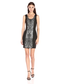 GUESS Women's Faux Leather and Lace Dress