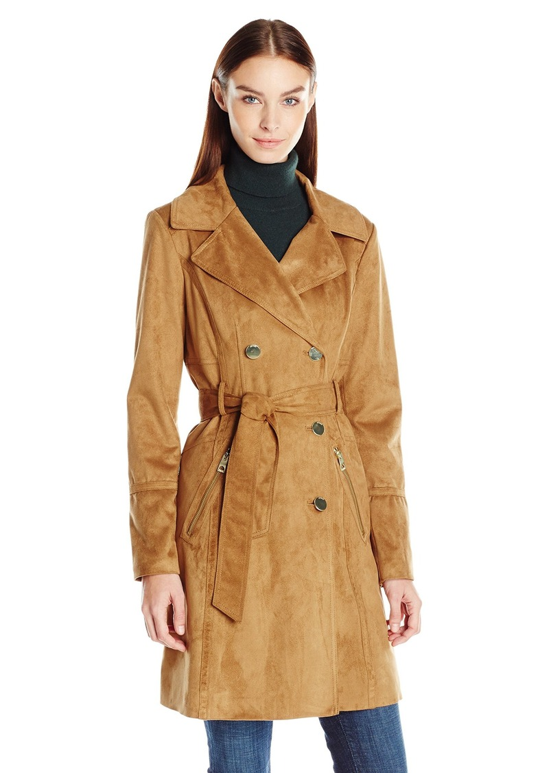 GUESS Women's Faux Suede Trench  L