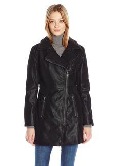 GUESS Women's Faux Suede Zip Up Jacket black L