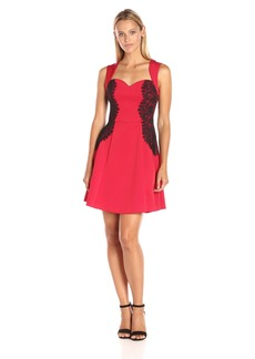 GUESS Women's Fit and Flare Scuba Dress with Lace