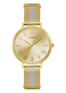 Guess Women's Gold and Silver Mesh Watch 38MM
