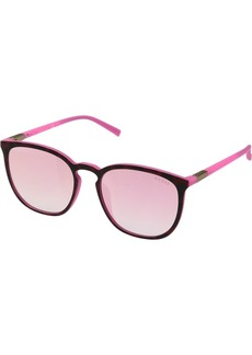 GUESS Women's Gu3020 Wayfarer Sunglasses dark havana & bordeaux mirror 56 mm