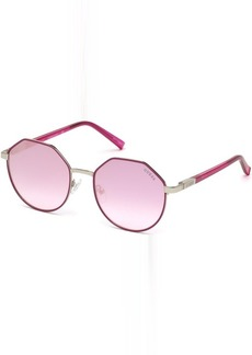 GUESS Women's Gu3034 Round Sunglasses pink & bordeaux mirror 53 mm