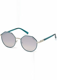 GUESS Women's Gu3034 Round Sunglasses turquoise & gradient brown 53 mm