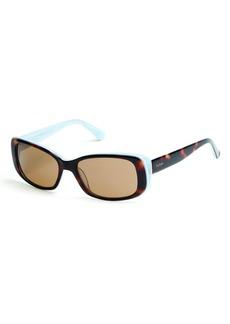 GUESS Women's Gu7408 Rectangular Sunglasses dark havana & brown 52 mm