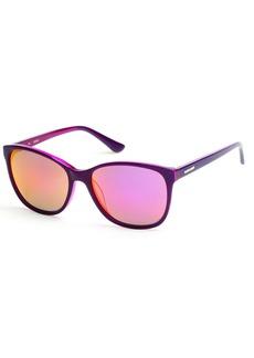 GUESS Women's Gu7426 Cateye Sunglasses Shiny Mirror Violet 58 mm