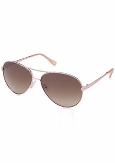 GUESS Women's Gu7470-s Aviator Sunglasses shiny rose gold & gradient brown 60 mm