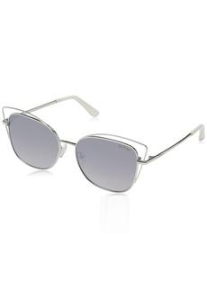 GUESS Women's Gu7528 Cateye Sunglasses shiny light nickeltin & smoke mirror 56 mm