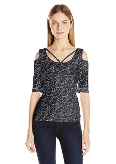 GUESS Women's Half Sleeve Aniya Criss Cross Top  S