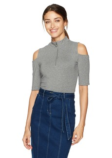 GUESS Women's Half Sleeve Betsey Zip Top Heather  Charcoal