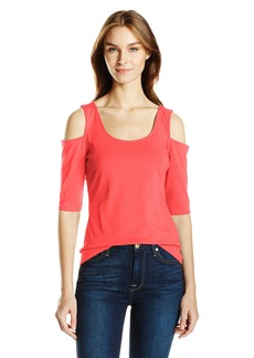 GUESS Women's Half Sleeve Cold Shoulder Frida Top Hot Coral/TCX L