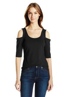 GUESS Women's Half Sleeve Cold Shoulder Frida Top  L