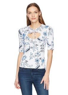 GUESS Women's Half Sleeve Daphney Top IVY Floral Brilliant White XS
