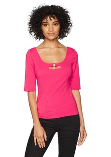 GUESS Women's Half Sleeve Georgina Ring Top  XS