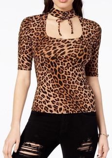 Guess Women's Half Sleeve Irene LACE UP TOP Winter Leopard/tan S