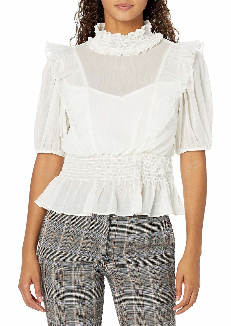 GUESS Women's Half Sleeve Kandence Mock Neck Top  Extra Small
