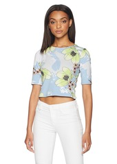 Guess Women's Half Sleeve Leland Top Shirt -DAZED lotus dusty print XL