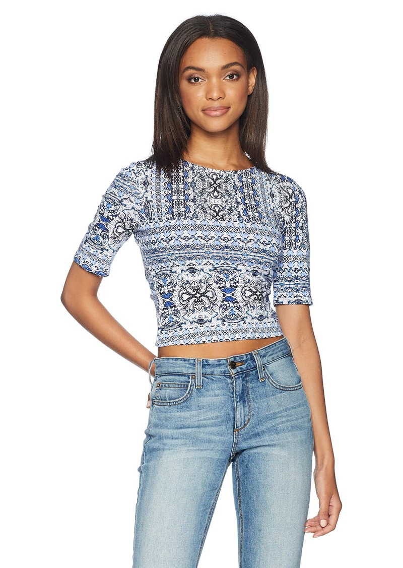 Guess Women's Half Sleeve Leland Top Shirt -kaleidoscope white print M