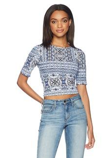 Guess Women's Half Sleeve Leland Top Shirt -kaleidoscope white print XL