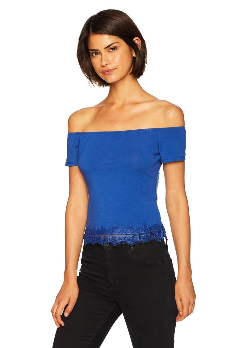 Guess Women's Half Sleeve Nolita Top Shirt -blue soul XS