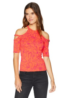Guess Women's Half Sleeve Pandie Top Shirt -daydream tropic coral print M