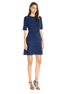 GUESS Women's Half Sleeve Sallie Suede Dress  L