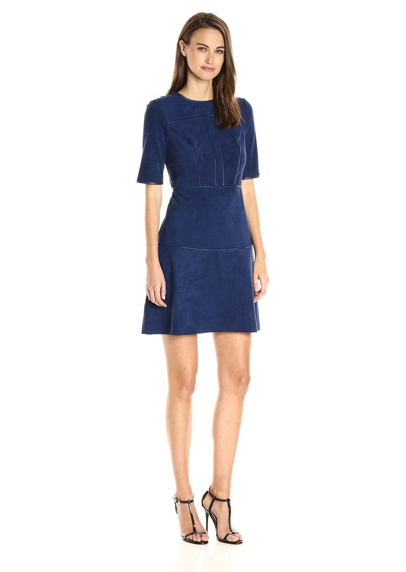 GUESS Women's Half Sleeve Sallie Suede Dress  L