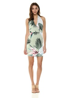 GUESS Women's Halter Brittnee Dress Sunset Palms Desert sage L