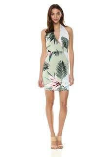 GUESS Women's Halter Brittnee Dress Sunset Palms Desert sage L