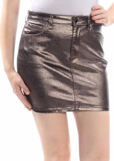 Guess Women's Hi Gloss Metallic Bodycon Skirt Pewter metallic pewter XL