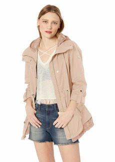 Guess Women's Hooded Anorak with Adjustable Drawstring Waist