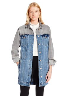 GUESS Women's Jessie Longline Denim Jacket Light  Wash M