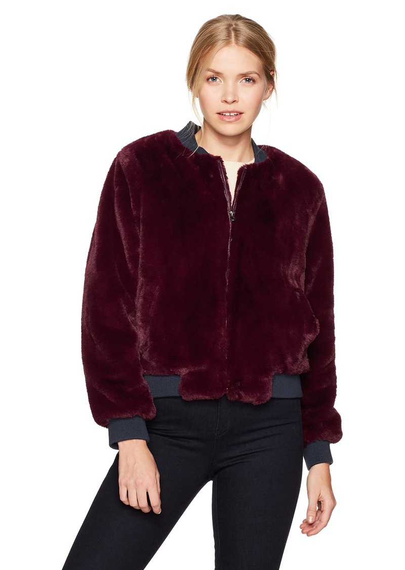 GUESS Women's Jolene Faux Fur Bomber Jacket