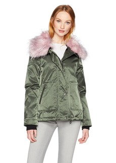 GUESS Women's Joy Faux Fur Collar Jacket