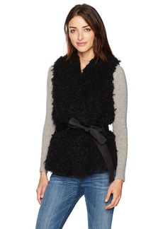 GUESS Women's Katrina Shearling Vest Jet Black Multi-Jtmu