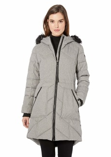 GUESS Women's Knee Length Heavy Puffer Coat with Faux Fur Trimmed Hood