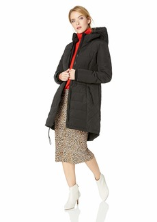 GUESS Women's Knee Length Heavy Quilted Puffer Coat with Hood