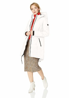 GUESS Women's Knee Length Heavy Quilted Puffer Coat with Hood  XLarge