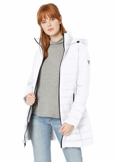 GUESS Women's Knee Length Packable Puffer Coat with Hood and Stand Collar