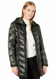 GUESS Women's Knee Length Quilted Iridescent cire Puffer Coat with Hood