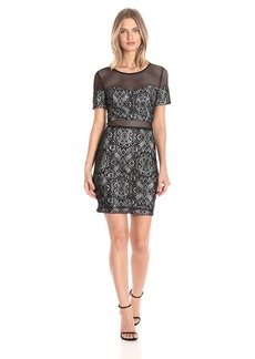 GUESS Women's Lace Mesh Illusion Dress