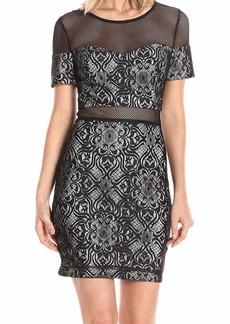 GUESS Women's Lace Mesh Illusion Dress