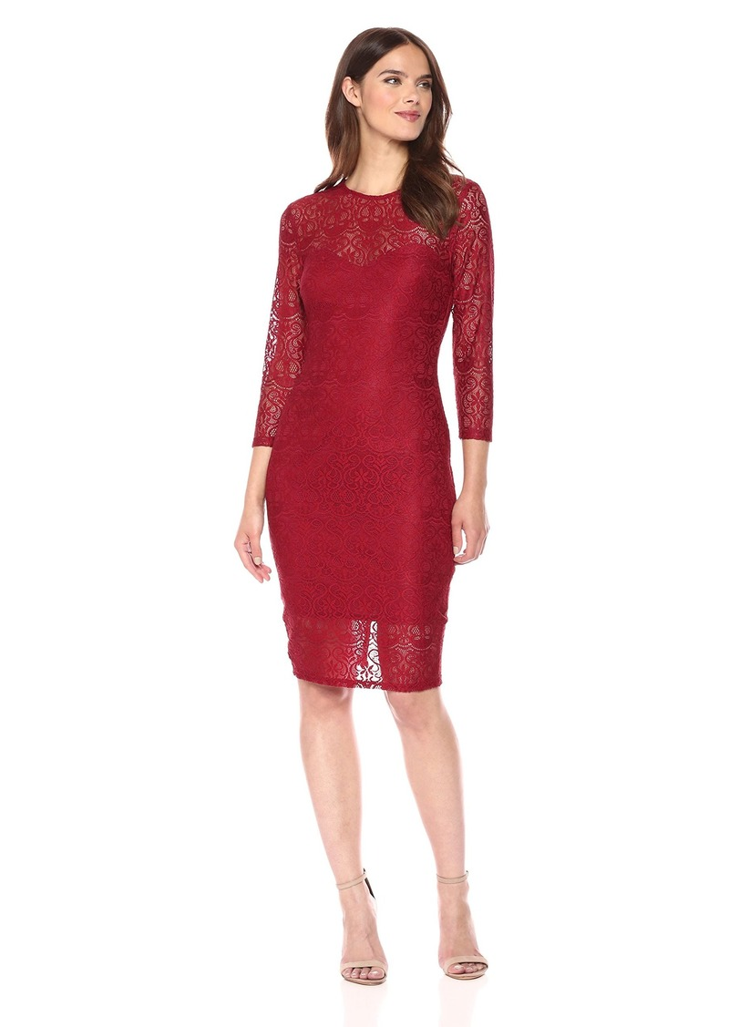 GUESS Women's Lace Midi Dress with Sleeves