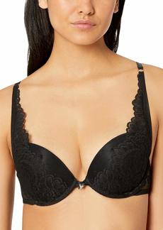 GUESS Women's Lace Plumetis Push Up Bra