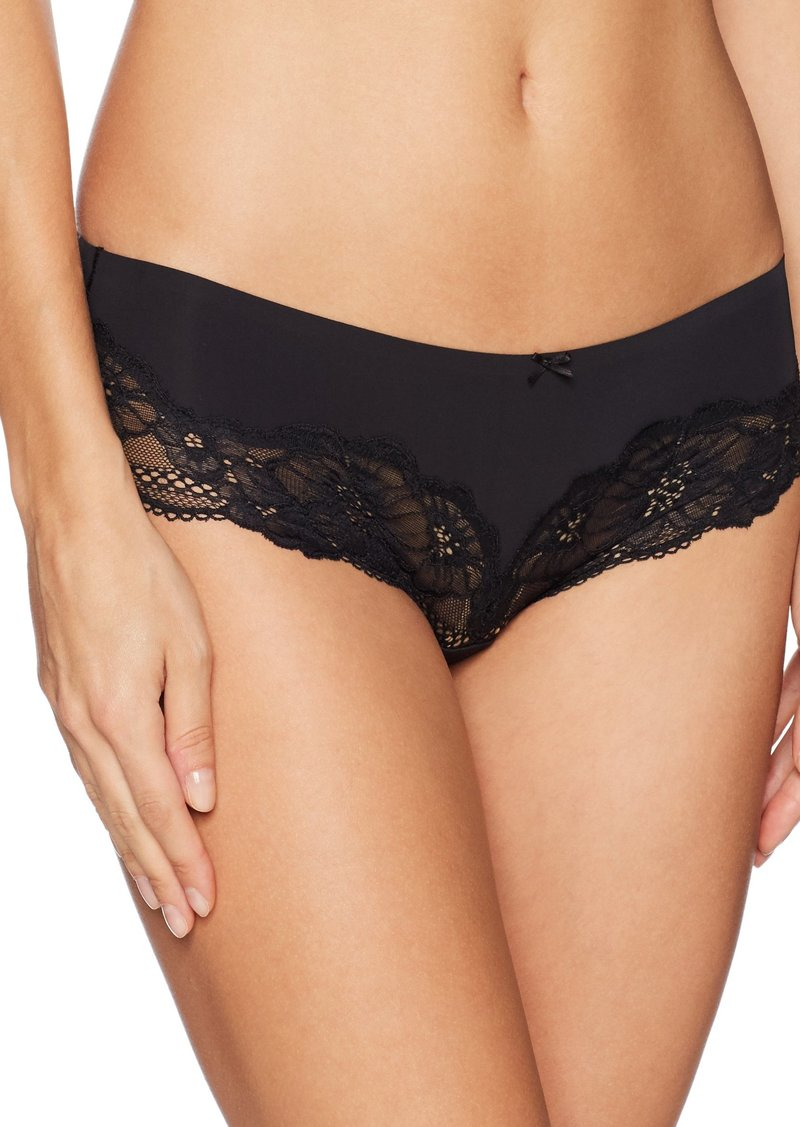 GUESS Women's Lace Trim Brief Jet Black with Frost Grey M