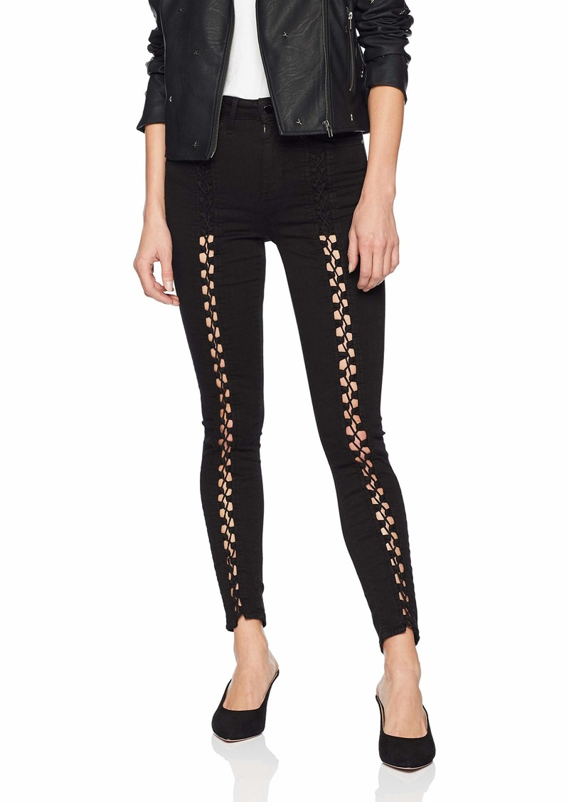 Guess Women's  Lace Up Super High Rise Jean olive dye phantom black