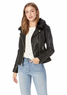 Guess Women's Leather Moto Jacket with Removeable Faux Fur Trim  XLarge